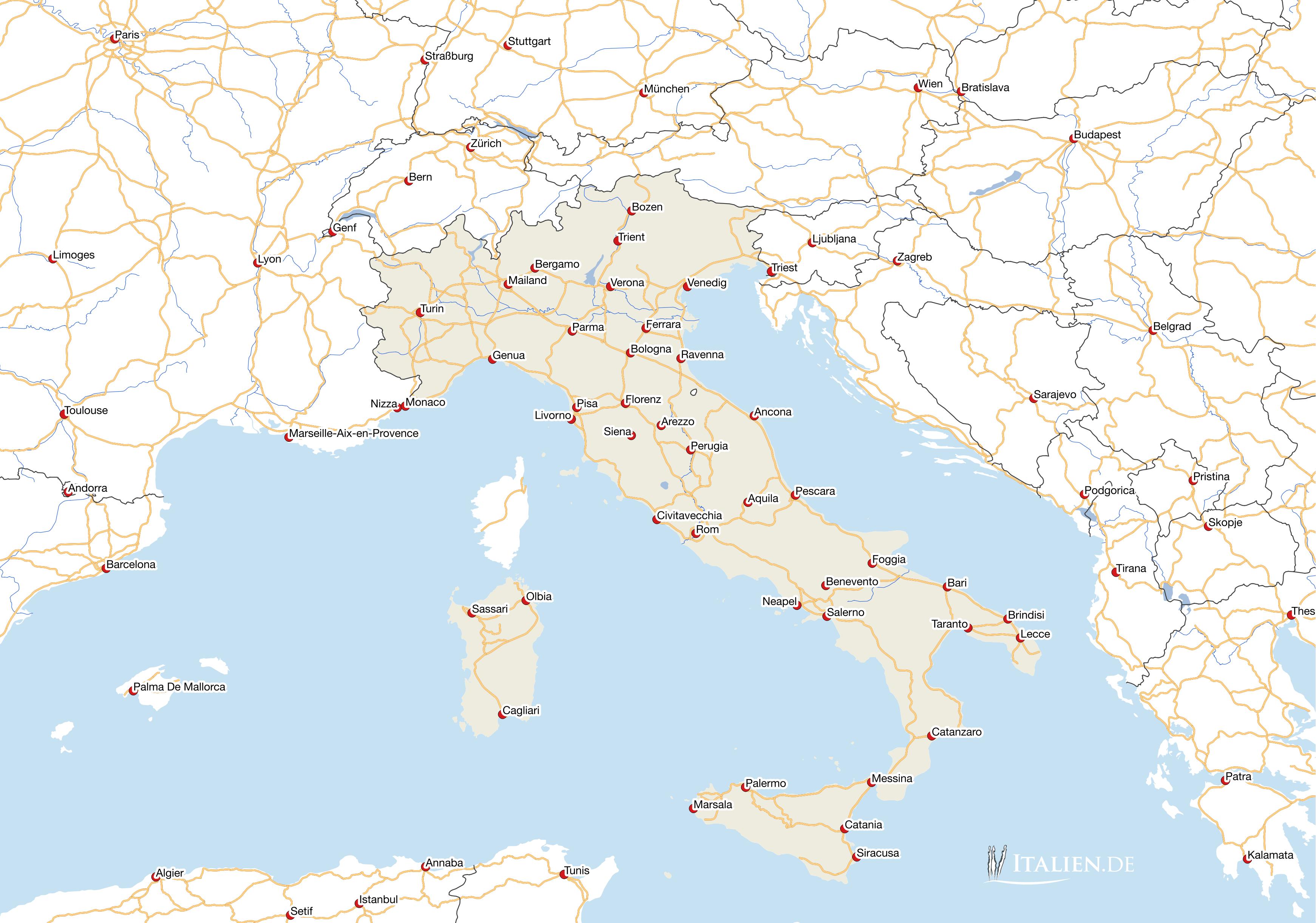 karte italien Karten von Italien – italien.de karte italien