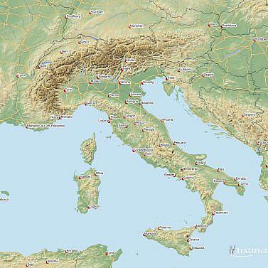 Physische Landkarte Italien