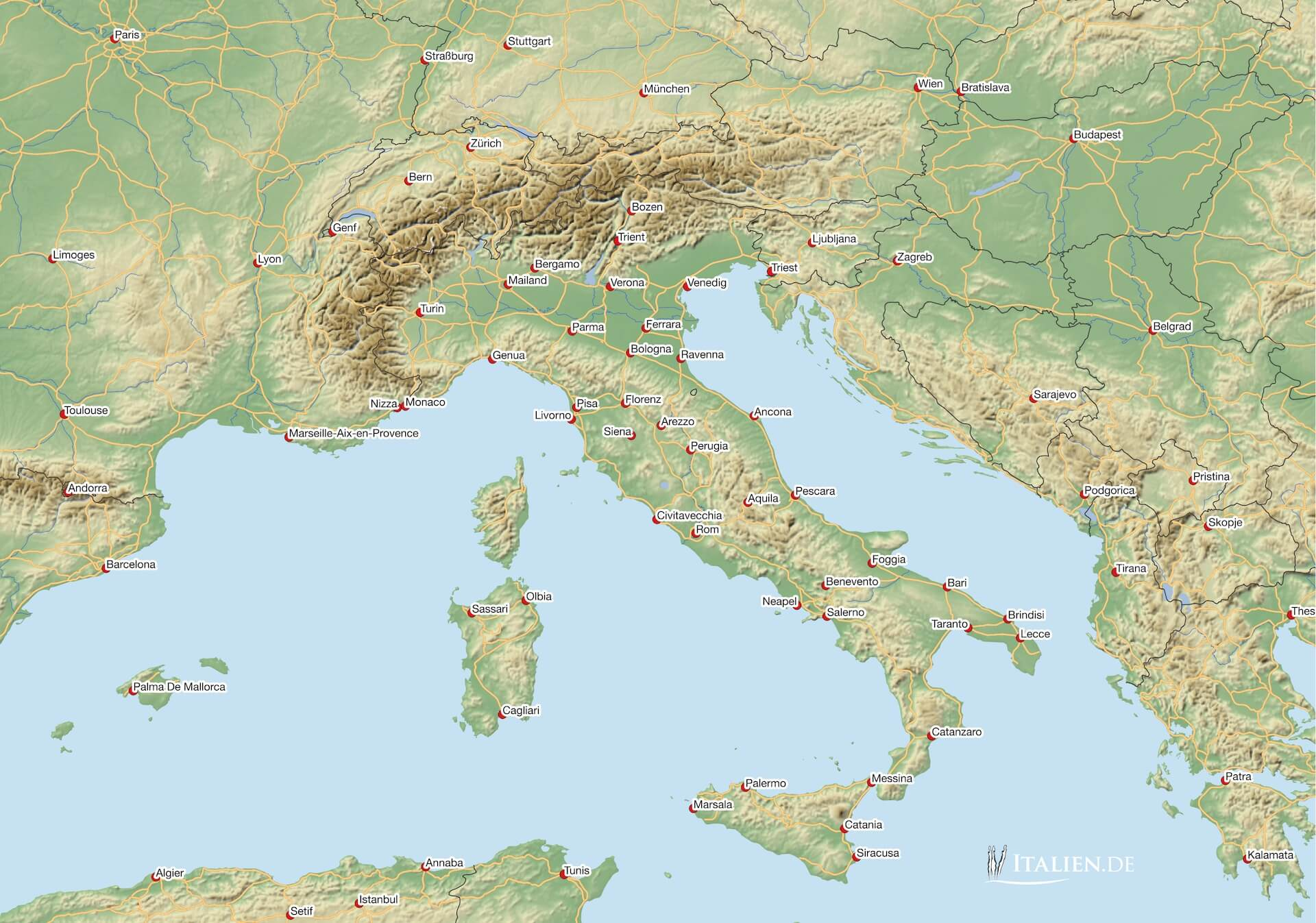 italien karte Karten von Italien – italien.de